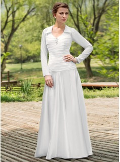 A-Line/Princess Scoop Neck Floor-Length Chiffon Charmeuse Wedding Dress With Ruffle Beadwork
