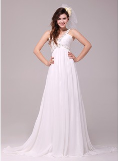Empire V-neck Court Train Chiffon Wedding Dress With Ruffle Beadwork