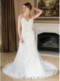 A-Line/Princess Sweetheart Court Train Satin Tulle Wedding Dress With Lace Beadwork (002000379)