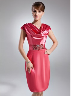 Sheath Cowl Neck Knee-Length Charmeuse Cocktail Dress With Ruffle Beading