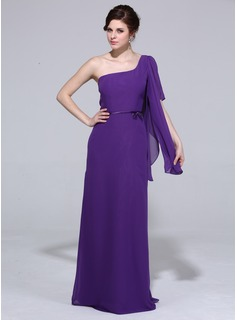 Sheath One-Shoulder Floor-Length Chiffon Charmeuse Bridesmaid Dress