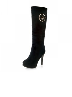 Suede Stiletto Heel Knee High Boots With Sequin shoes