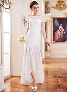 Trumpet/Mermaid Scoop Neck Asymmetrical Lace Wedding Dress