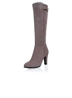 Real Leather Stiletto Heel Pumps Closed Toe Knee High Boots With Zipper shoes