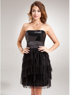 Sheath Strapless Short/Mini Tulle Charmeuse Sequined Cocktail Dress With Ruffle