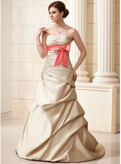 A-Line/Princess Strapless Court Train Satin Wedding Dress With Ruffle Sash Beadwork