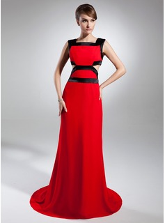 Sheath Square Necklin Court Train Chiffon Charmeuse Evening Dress With Sash