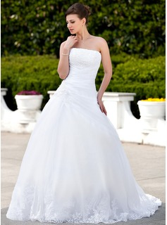 Ball-Gown Strapless Chapel Train Organza Satin Wedding Dress With Lace Beadwork (002000135)