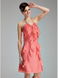 A-Line/Princess Halter Knee-Length Chiffon Homecoming Dress With Ruffle (022019637)