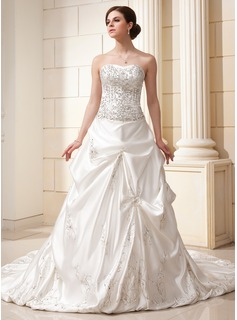 Ball-Gown Sweetheart Chapel Train Satin Wedding Dress With Embroidered Ruffle Beading Sequins