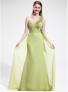 Sheath One-Shoulder Sweep Train Chiffon Bridesmaid Dress With Ruffle Flower(s)