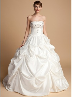 Ball-Gown Sweetheart Floor-Length Taffeta Wedding Dress With Beading