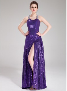 A-Line/Princess Sweetheart Sweep Train Sequined Prom Dress With Beading
