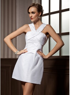 Sheath V-neck Short/Mini Taffeta Cocktail Dress With Ruffle (016008494)