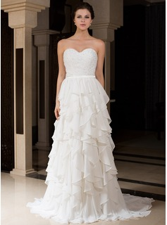 A-Line/Princess Sweetheart Sweep Train Chiffon Charmeuse Wedding Dress With Beading Cascading Ruffles