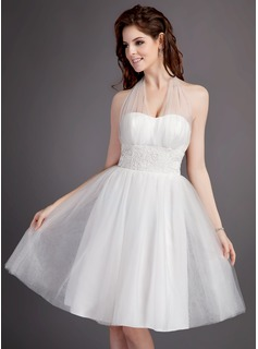 A-Line/Princess Halter Knee-Length Satin Tulle Wedding Dress With Ruffle Lace