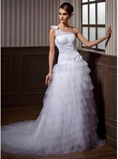A-Line/Princess One-Shoulder Chapel Train Satin Tulle Wedding Dress With Ruffle Lace Beading Flower(s)