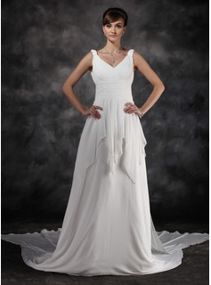 A-Line/Princess V-neck Watteau Train Chiffon Wedding Dress With Ruffle (002000565)