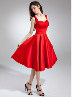 A-Line/Princess Sweetheart Tea-Length Satin Homecoming Dress With Ruffle (022009571)