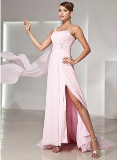 A-Line/Princess One-Shoulder Watteau Train Chiffon Prom Dress With Ruffle Beading Appliques