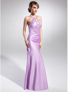 Sheath Halter Floor-Length Satin Evening Dress With Beading