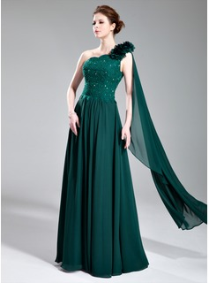 A-Line/Princess One-Shoulder Floor-Length Chiffon Charmeuse Evening Dress With Lace Beading Flower(s)