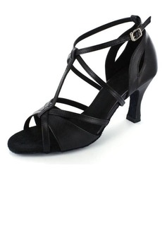 Women's Leatherette Heels Sandals Latin With T-Strap Ankle Strap Dance Shoes