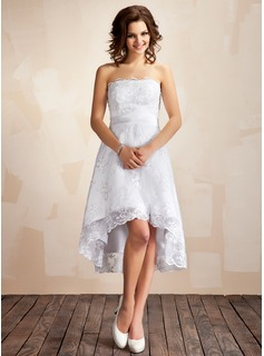 A-Line/Princess Strapless Asymmetrical Satin Lace Wedding Dress