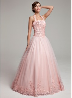 Ball-Gown Halter Floor-Length Taffeta Tulle Quinceanera Dress With Ruffle Lace Beading
