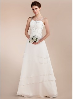 A-Line/Princess Sweetheart Floor-Length Chiffon Satin Wedding Dress With Lace Beadwork (002011644)