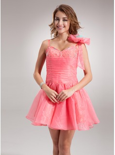 A-Line/Princess Sweetheart Short/Mini Organza Homecoming Dress With Ruffle Beading Flower(s) (022020755)