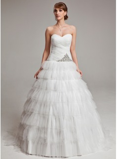 Ball-Gown Sweetheart Court Train Tulle Wedding Dress With Ruffle Beadwork (002017571)