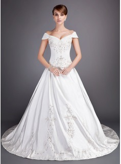 Ball-Gown Off-the-Shoulder Chapel Train Satin Tulle Wedding Dress With Embroidery Beadwork Sequins