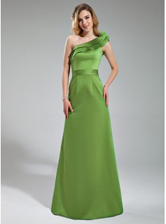 Sheath One-Shoulder Floor-Length Satin Bridesmaid Dress
