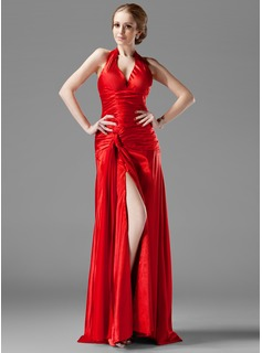 Sheath Halter Sweep Train Charmeuse Evening Dress With Ruffle