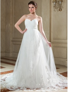 Empire Sweetheart Chapel Train Chiffon Tulle Wedding Dress With Ruffle Lace