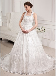 Ball-Gown Halter Chapel Train Satin Lace Wedding Dress With Beadwork Sequins
