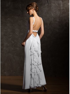 A-Line/Princess V-neck Ankle-Length Chiffon Evening Dress With Beading Cascading Ruffles