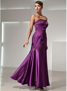 Mermaid Strapless Floor-Length Charmeuse Evening Dress With Lace Beading