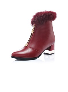 Leatherette Chunky Heel Ankle Boots With Fur shoes