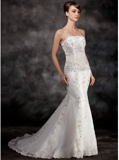 Trumpet/Mermaid Court Train Organza Wedding Dress With Lace Beading Sequins