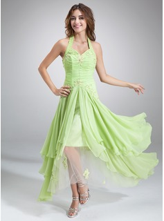 A-Line/Princess Halter Asymmetrical Chiffon Tulle Holiday Dress With Ruffle Beading Appliques Sequins