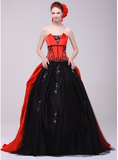 Ball-Gown Scalloped Neck Sweep Train Tulle Charmeuse Quinceanera Dress With Lace Beading