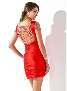 Sheath Scoop Neck Short/Mini Charmeuse Cocktail Dress With Ruffle Beading Sequins (016008518)