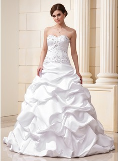 Ball-Gown Sweetheart Court Train Satin Wedding Dress With Ruffle Lace Beadwork Sequins (002012635)