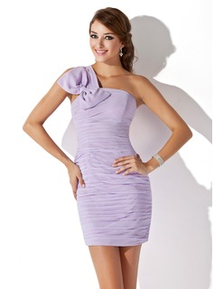 Sheath/Column One-Shoulder Short/Mini Chiffon Cocktail Dress With Ruffle Bow(s)