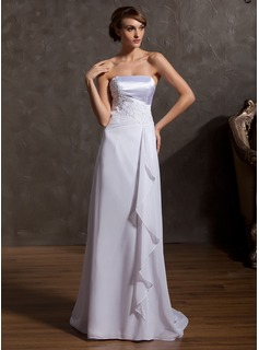 A-Line/Princess Strapless Sweep Train Chiffon Charmeuse Wedding Dress With Lace Cascading Ruffles