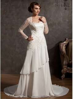 A-Line/Princess Sweetheart Chapel Train Chiffon Tulle Wedding Dress With Lace