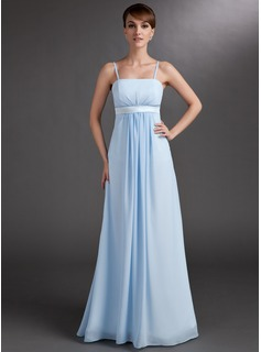 Empire Floor-Length Chiffon Charmeuse Maternity Bridesmaid Dress With Ruffle Sash (045004393)