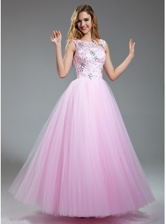 A-Line/Princess Scoop Neck Floor-Length Satin Tulle Prom Dress With Lace Beading Sequins